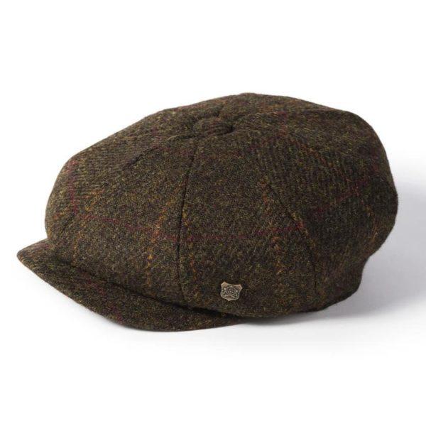 Failsworth Carloway Harris Tweed Cap   Dark Olive