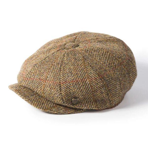 Failsworth Carloway Harris Tweed Cap | Gold Olive